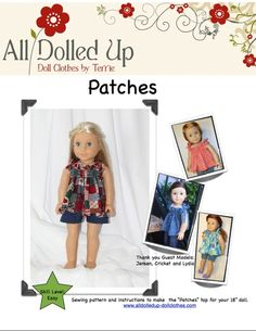 """Free gathered top pattern for 18"""" dolls (scroll down the page, it's one of the lasts)."""