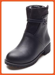 Women's Solid Kitten-Heels Round Closed Toe PU Zipper Boots Gray 38