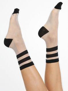 American Apparel - Sheer Patterned Sock in 'Athletic Stripes on clear' Mesh Socks, Sheer Socks, Lace Socks, Ankle Socks, Stockings Legs, Funny Socks, Happy Socks, Cool Socks, Smart Socks