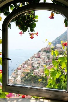 View in Positano, Italy / Villa Fiorentino Window View, Open Window, Beautiful World, Beautiful Places, Looking Out The Window, Voyage Europe, Through The Window, Amalfi Coast, Adventure Is Out There