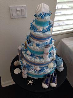Beach themed diaper cake - boy baby shower
