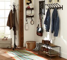Mud room inspiration. Shoe rack. Hooks. Rug. Blacksmith Entryway Organizer | Pottery Barn