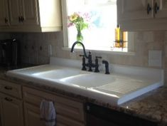 Farmhouse Kitchen Sinks With Drainboard keeping it cozy: our farmhouse kitchen with many links including