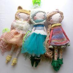 A trio of love. ♥♥♥ #humbletoys #clothdoll #wip #handmadedoll #handmade