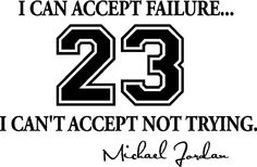 Version 2 I can accept failure I can't accept not trying cute inspirational sport Wall Vinyl Decal Quote Art Saying lettering basketball motivational Sticker stencil wall decor art - - Amazon.com