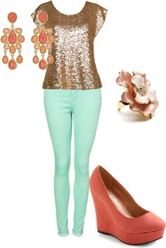 """""""Mint & Coral"""" by monika-vinje on Polyvore  Fav. Colors,  not sure about the sequins..."""
