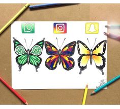 WhatsApp, Instagram & Snapchat [as butterflies] (Drawing by Unknown) #SocialMedia