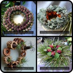 Wreath Set 2 (From L to R Nigella Pod, Silver Fox in Citrus, Lotus Lush, and Tilly Pod) #wreaths #holiday #decor #plants