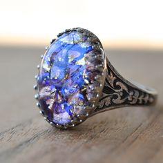Vintage Purple Glass Opal Rhinestone Ring, October Birthstone Gemstone Jewelry Gift for Woman