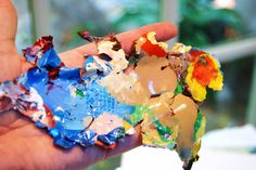 Art Tip: Mix & pour your acrylic paints onto a piece of plastic, let dry, peel off, and sew together for a unique, colorful art piece!