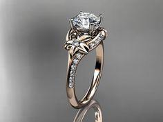 14kt  rose gold diamond floral wedding by anjaysdesigns on Etsy,   $1235.00