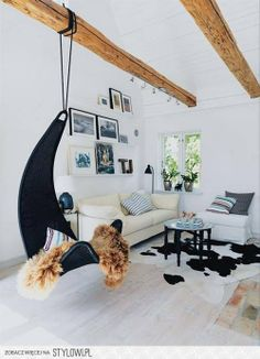 Great Hanging Chair in the living room.