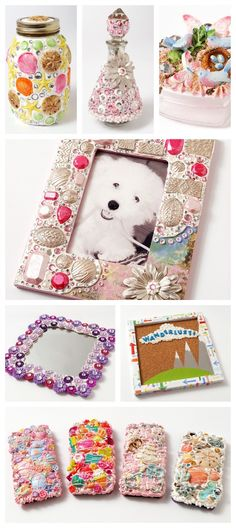 Decoden and Mixed Media crafting with Mod Podge collage clay ideas! Glue Gun Crafts, Mod Podge Crafts, Clay Crafts, Christmas Art For Kids, Mod Melts, Shell Ornaments, Decoden, Diy Phone Case, Diy Crafts For Kids