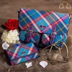 Ness Keira Tweed Messenger Bag In Fresh Bluebell Check