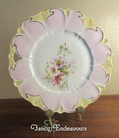 R S Prussia? Art Nouveau Porcelain Cake Plate Mold 98? Daffodils in Mold Flowers #LikelyRSPrussia