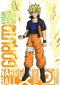 This is Goruto when using the power of a Super Saiyan while using the power of the Bijuu sealed inside him, the kyuubi. Goku awakened his Super Saiyan w. Goruto One-Tailed Chakra Cloak Super Saiyan Character Modeling, Character Art, Dbz, Goku, Manga Anime, Anime Art, Anime Meme, Super Saiyan, Fusion Art