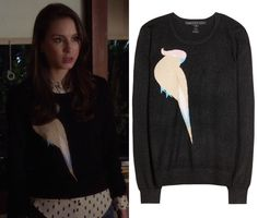"""Spencer's bird sweater from Pretty Little Liars episode """"Surfing the Aftershocks"""". Marc by Marc Jacobs Betty Birdie Metallic Knit Swea. Pretty Little Liars Episodes, Pretty Little Liars Fashion, Troian Bellisario, Spencer Hastings, Fashion Tv, Marc Jacobs, Surfing, Metallic, Bird"""
