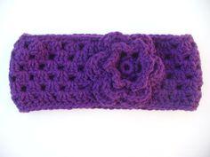 EXPIRY SALE  Purple Crocheted Ear Warmer/Head Band by ACCrochet, $9.00