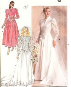 Vintage 80s Wedding Dress Pattern Butterick Patterns 4646 by willynillyart, $15.00