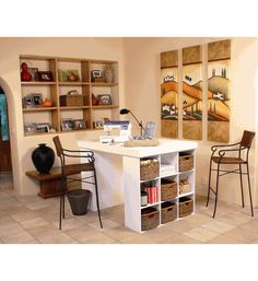 TABLE WITH CUBBIES: Project Craft Table With Adjustable Cubbies @Organize.com