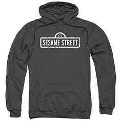 Sesame Street One Color Logo Mens Pullover Hoodie  Sesame Street is one of the all time classic learning television shows that incorporates lovable puppets for teaching tools. Whether you want your child to learn early math, spelling, grammar or good social skills, Seasame Street is there to help you child learn in a super fun and easy way for them to remeber. Not only that, how many of these characters bring us back to our childhood's and the great memories we had? You will love thi..