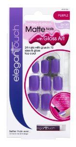 Elegant Touch Limited Edition Matte False Nails With Gloss Art (Short Length) - Purple by Elegant Touch. $6.20. Matte nail are bang on-trend and look ultra chic, The colour stays brilliant for the entire wear and will not chip or scratch off, like matte nail polish can. Get Creative and use gloss art to create a unique look. Check out tips inside so you can achieve the hottest looks with the gloss art.  Contains:  24 Short False Nails. Nail Glue (2ml). Nail Buffer. Top Coat.