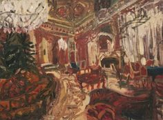 Ioana Bătrânu (Romanian, b. Melancholic Interior (The Revolutionary Saloon), Oil on wooden panel, 114 x 153 cm. Institute Of Contemporary Art, Contemporary Artwork, Figure Painting, Painting & Drawing, Art Encounters, Presidential Portraits, National Art Museum, Central And Eastern Europe, Art Fair