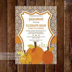 Damask Little Pumpkin Baby Shower Invitation  Rustic by MommiesInk, $14.00
