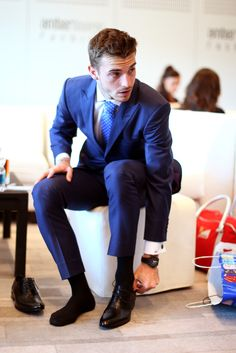 Jules Bianchi of France and Marussia prepares to take part in the Amber Lounge Fashion Show ahead of the Monaco Formula One Grand Prix at Circuit de Monaco on May 2014 in Monte-Carlo, Monaco. Get premium, high resolution news photos at Getty Images Terno Slim Fit, Slim Fit Pants, Blue Tuxedos, Men Photography, Black Socks, Dress Socks, Dress Clothes, Raining Men, Professional Attire