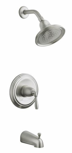 KOHLER K-T395-4-BN Devonshire Rite-Temp Pressure-Balancing Bath and Shower Faucet Trim with Lever Handle in Brushed Nickel