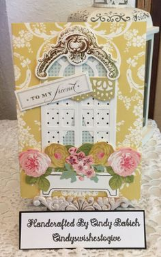 Friend Birthday Card / Made with Anna Griffin Window Ledge Card Making Kit / Handcrafted By Cindy Babich (cindyswishestogive Window Ledge, Window Frames, Birthday Cards For Friends, Friend Birthday, Anna Griffin Cards, Card Making Kits, Window Cards, Shaker Cards, Card Kit