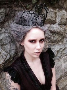 Black threaded evil queen crown gothic witch by ChurchofVanity, $75.00