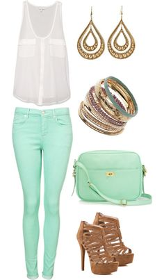 Mint gold and white