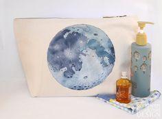 Moon Canvas Wash Bag Large Zipper Pouch Makeup Bag Toiletry Bag Accessory Bag by ceridwenDESIGN http://ift.tt/23adJlI
