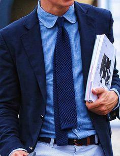 Life is Blue - Navy sport jacket, knitted tie, denim shirt