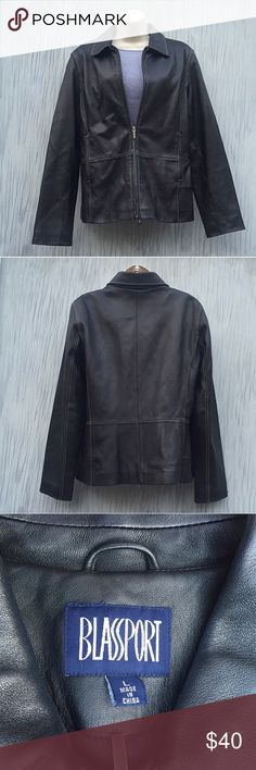 Women's black leather jacket from Bill Blass Black leather jacket by Bill Blass in EXCELLENT condition.  Simple and classic, jacket is slightly fitted and tapered with zippered front,  a collar, and front side pockets.   Fully lined.  Size women's large - see picture for exact measurements. Bill Blass Jackets & Coats