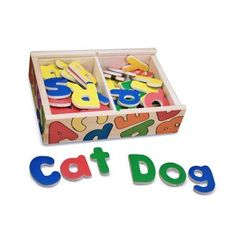 Melissa & Doug 52 Wooden Alphabet Magnets in a Box - Uppercase and Lowercase Letters, Multicolor