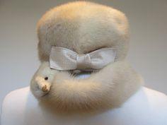 vintage 50s honey blonde mink real fur pill by SuperGirlVintage