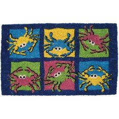 Colorful Crabs Coir Mid Thickness 18x30 Doormat by BigKitchen. $29.99. Abrasive and effective. Stenciled bleached coconut fiber. Sweep clean. Six multicolored crabs on a square frame. Resists fading and running. Add some personality to the front door and put out this coir doormat. Six colorful crabs on a blue framed square design are stenciled in a fading and running resistant ink. The coconut fiber construction is very abrasive and efficiently removes dirt from s...