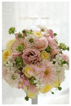 『【ブライダル】パステル&ナチュラルなブーケ』 http://ameblo.jp/flower-note/entry-11460257656.html