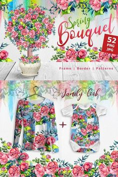 Spring bouquet PNG watercolor setBouquet flowers watercolor set of 52 files. Ideal material for DIY, wedding invitations, greeting cards, quotes, blogs, posters and more.  #illustrations #watercolor #cards   https://www.templatemonster.com/bundles/spring-bouquet-watercolor-fower-bundle-67353.html