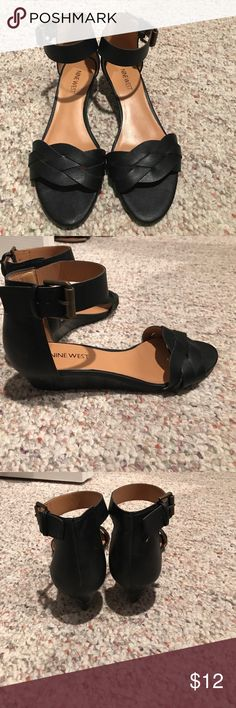 Nine West black sandals Black Nine West sandals with a small heel size 6 1/2 Nine West Shoes Sandals