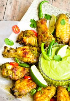 Life Scoops: Tangy Spiced Cilantro Chicken Wings with Yogurt Cilantro dipping sauce