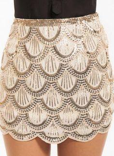 scalloped cream sequin mini skirt