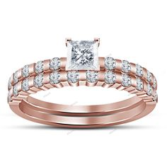 V Prong Setting 3.26 CT Princess Cut Diamond 925 Silver Bridal Wedding Ring Set #affoin8