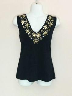 Michelle Antonelli black sleeveless shirt w/ gold sequins & beads, Large…