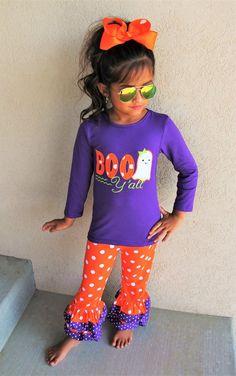 "Girls Halloween ""Boo Y'all"" Ruffle Pant Set"