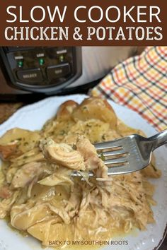 Slow cooker creamy ranch chicken and potatoes is a super easy dinner to make and it only takes a few minutes to get it prepped and cooking. Slow Cooker Chicken Potatoes, Slow Cooker Creamy Chicken, Chicken Cooker, Chicken Meals, Boneless Chicken, Chicken Casserole, Crock Pot Cooking, Cooking Recipes, Crockpot Recipes