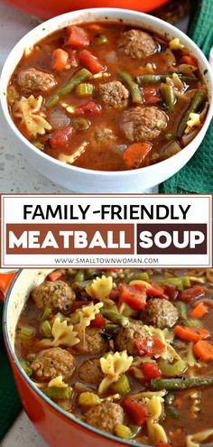 This family friendly tasty Meatball Soup is the perfect comfort food dinner idea perfect for the cold weather! This hearty winter recipe is a cinch to make using frozen or fresh meatballs and a handful of fresh cut vegetables that is lightly seasoned with Easy Soup Recipes, Cooking Recipes, Healthy Recipes, Healthy Food, Recipes Dinner, Comfort Food Recipes, Winter Dinner Recipes, Healthy Chicken, Tasty Meatballs