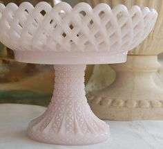 Antique Challinor and Taylor Pink Milk Glass Open by PatinaVille